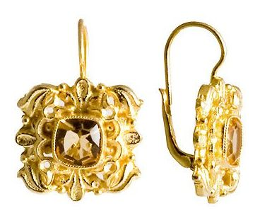 Catherine Of Aragon Citrine Victorian Silver Earrings pride of online shop