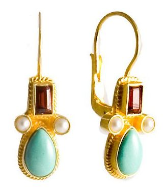 Eleanora Duse Turquoise, Garnet and Pearl Earrings