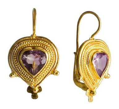 Elizabeth Barrett Amethyst Earrings are legend of Victorian silver jewelry