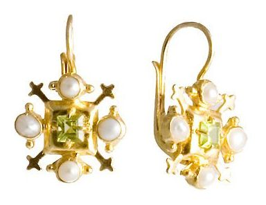 Jeanne De Bourbon Peridot & Pearl Earrings Renaissance sterling silver jewelry