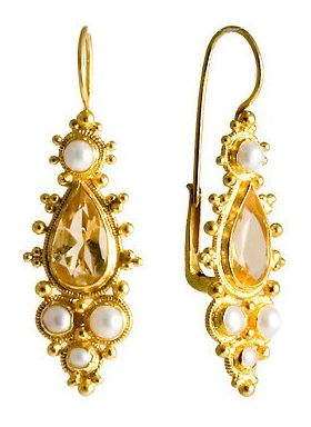 Midsummer's Ball Yellow Topaz and Pearl Earrings, silver