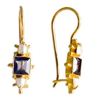 Milano Iolite & Pearl Earrings renaissance, silver