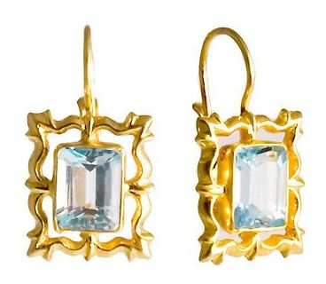 National Gallery Blue Topaz Earrings Victorian Silver Jewelry