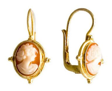 Rosalinda Cameo Earrings in sterling silver Victorian settings