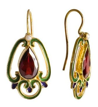 Sylvan Garnet and Pearl Enamel Earrings