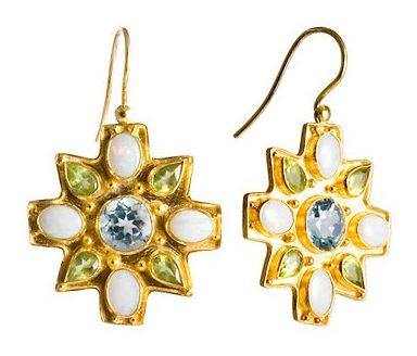 Victorian Star Blue Topaz, Opal, and Peridot Earrings