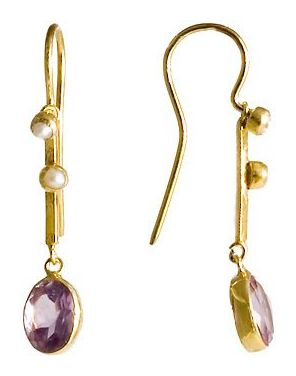 Victoriana Amethyst and Pearl Earring