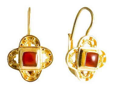 Byzantine Silver Garnet Earring design from fashion jewelry designers