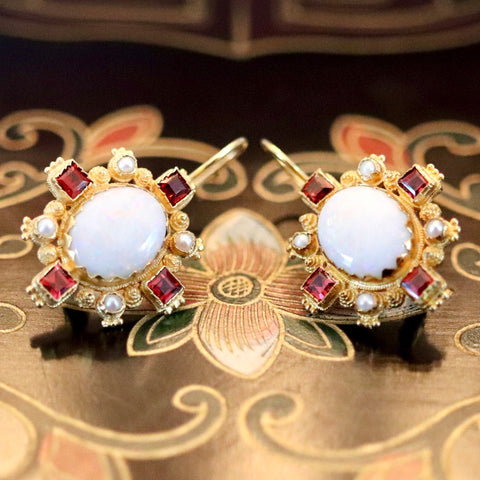14k Trafalgar Opal, Garnet and Pearl Earrings
