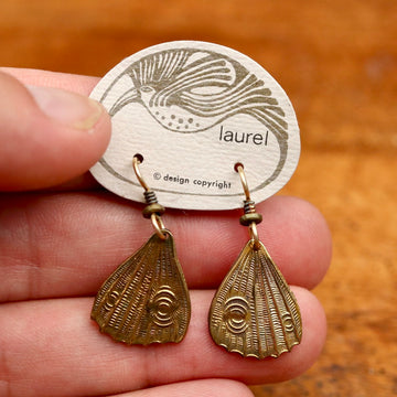 Vintage Laurel Burch Butterfly Wing Gold-Plate Earrings