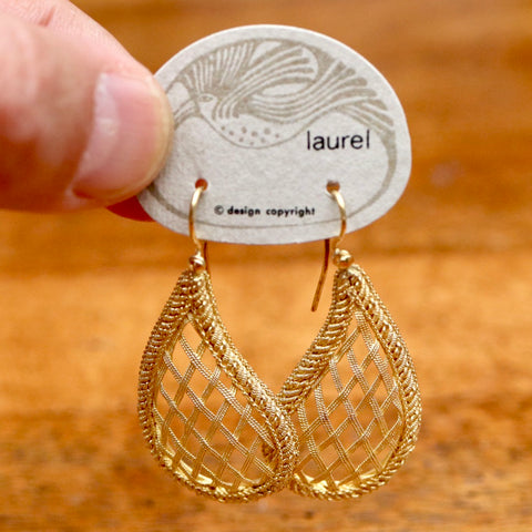 Vintage Laurel Inc. Latticework Gold-Plate Dangles