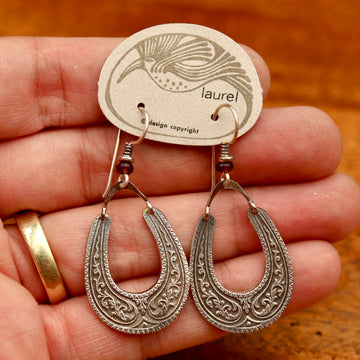 Vintage Laurel Burch Horseshoe Silver-Plate Earrings