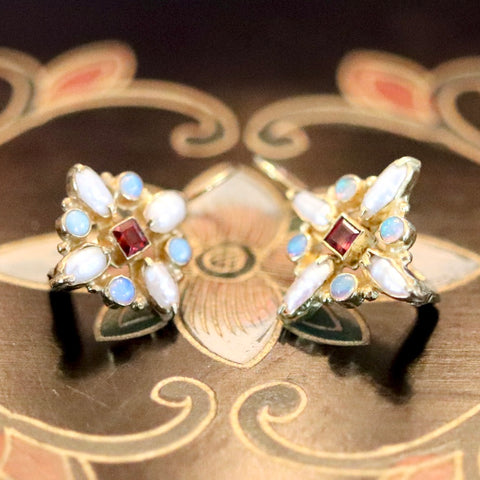 14k Guinevere Garnet, Pearl and Opal Earrings