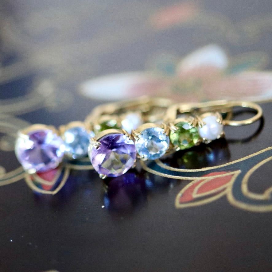 Christina Rossetti 14k Gold, Amethyst, Blue Topaz, Peridot and Pearl Earrings