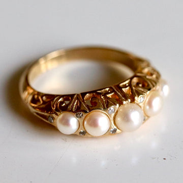 Anjou 14k Gold, Pearl and Diamond Ring