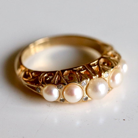 Anjou Pearl and Diamond Ring