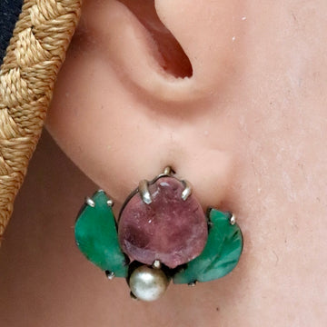 Antique Qing Dynasty Tourmaline, Jade and Pearl Moth Earrings