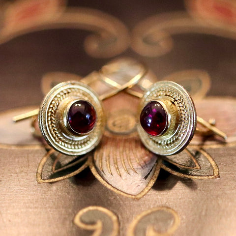 Athena Garnet Gold Earrings