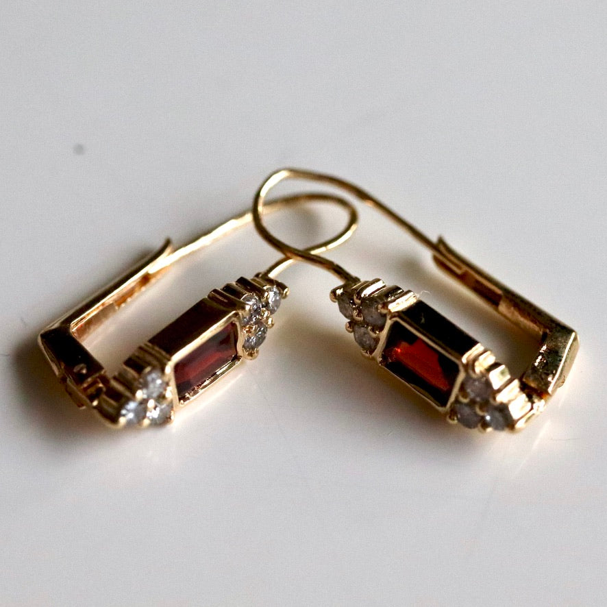 Regency 14k Gold, Garnet and Diamond Earrings