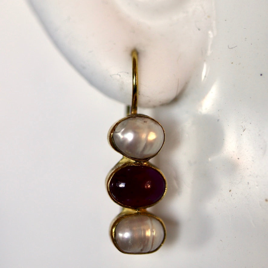Twilight 14k Gold, Ruby and Pearl Earrings