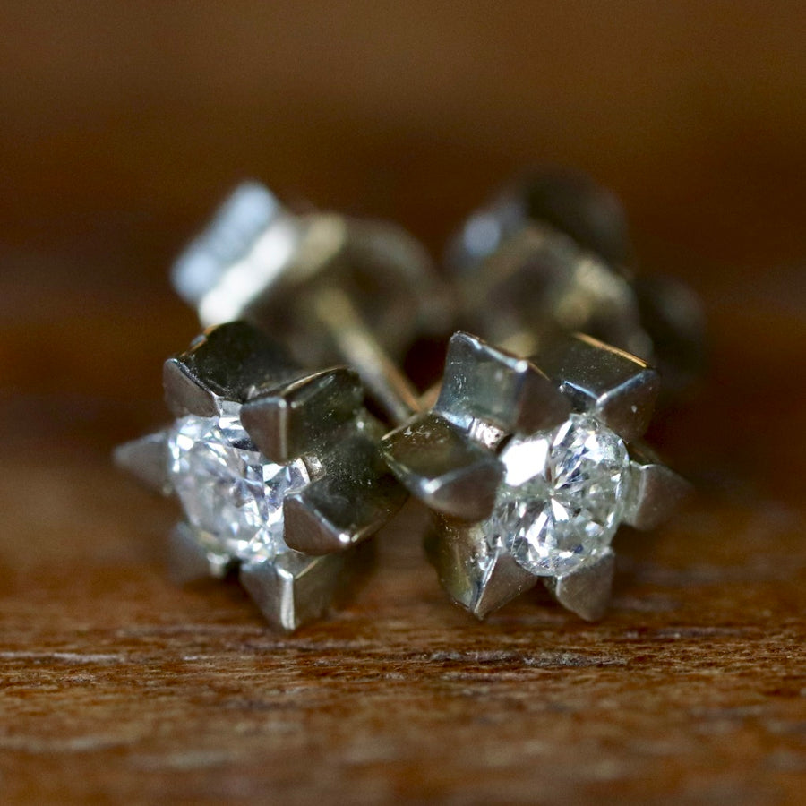 Starburst 14k White Gold and Diamond Earrings