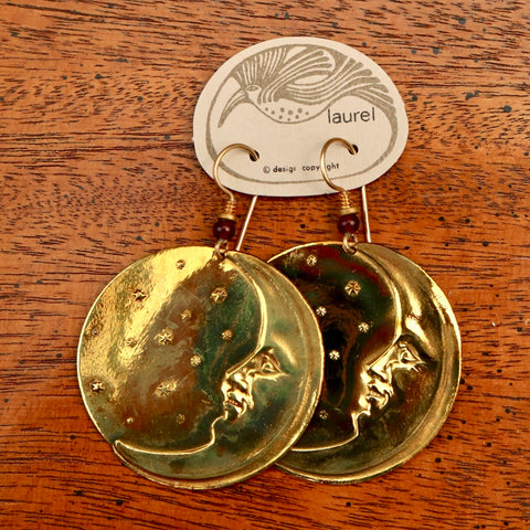 Vintage Laurel Burch Large Moonface Gold-Plate Earrings