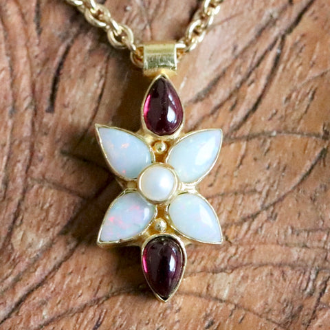 Flora Opal, Garnet & Pearl Necklace