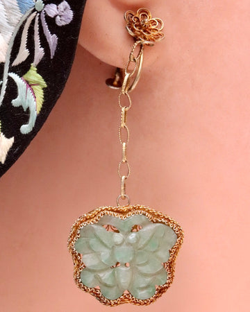 Antique Qing Dynasty Jade Butterfly Dangle Screw-Back Earrings