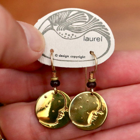 Vintage Laurel Burch Extra Small Moonface Gold-Plate Earrings
