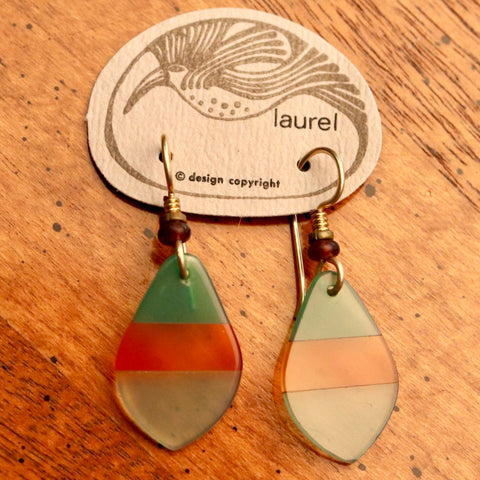 Vintage Laurel Burch Lucite Pick Gold-Plate Dangles
