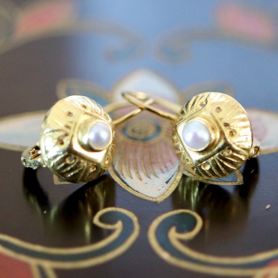 Lady Caroline 14k Gold and Pearl Earrings