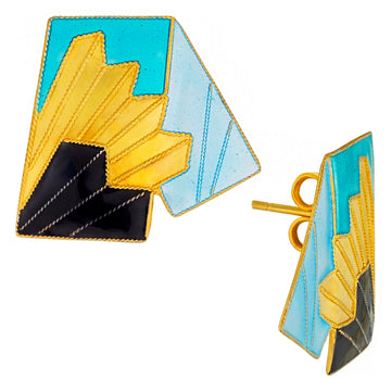 Vintage Laurel Inc Turquoise Chief Gold-Vermeil Earrings
