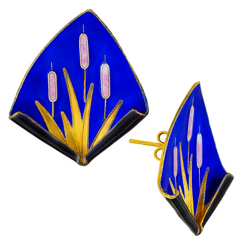 Vintage Laurel Inc Royal Blue Reed Gold-Vermeil Earrings