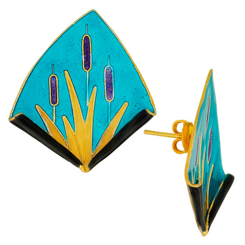 Vintage Laurel Inc Turquoise Reed Gold-Vermeil Earrings