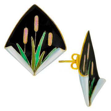 Vintage Laurel Inc Black Reed Gold-Vermeil Earrings