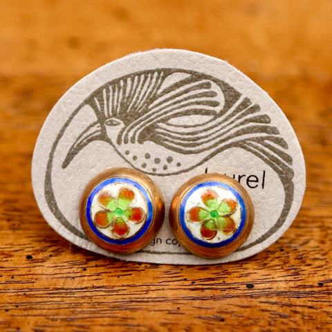 Vintage Laurel Burch Golden Flower Gold-Vermeil Studs