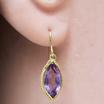 14k Marquis Cut Amethyst Earrings