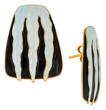 Vintage Laurel Inc Tuxedo Leaf Gold-Vermeil Earrings