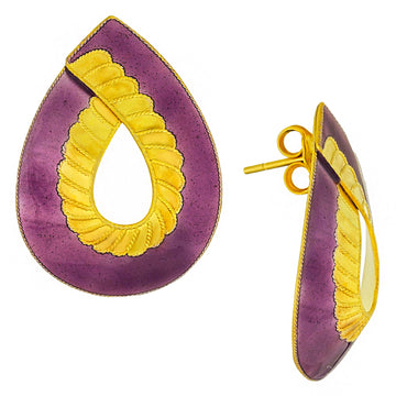 Vintage Laurel Inc Ribbon Gold-Vermeil Earrings
