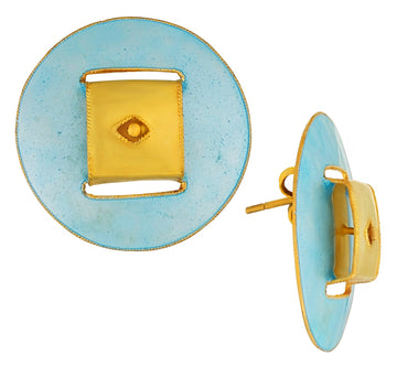 Vintage Laurel Inc Sky Blue Deco Sphere Gold-Vermeil Earrings