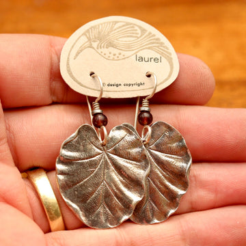 Vintage Laurel Burch Silver-Plate Lily Pad Earrings