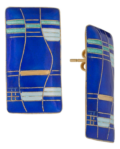 Vintage Laurel Inc Blue Mondrian Gold-Vermeil Earrings