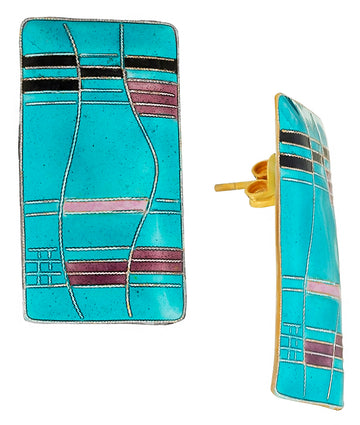 Vintage Laurel Inc Turquoise Mondrian Gold-Vermeil Earrings