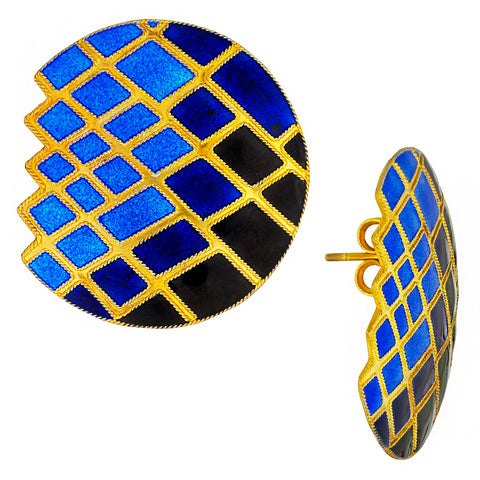 Vintage Laurel Inc Blue Mosaic Gold-Vermeil Earrings