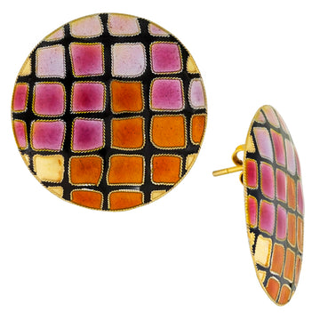 Vintage Laurel Inc Sunrise Mosaic Gold-Vermeil Earrings