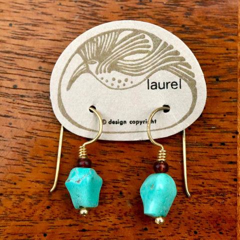 Vintage Laurel Burch Turquoise Gold-Plate Dangles