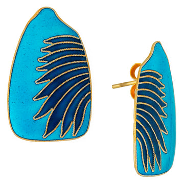 Vintage Laurel Inc Birds Wing Blues Gold-Vermeil Earrings