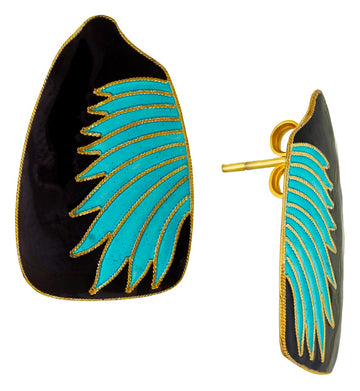 Vintage Laurel Inc Turquoise Birds Wing Gold-Vermeil Earrings