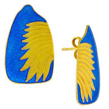 Vintage Laurel Inc Blue Birds Wing Gold-Vermeil Earrings