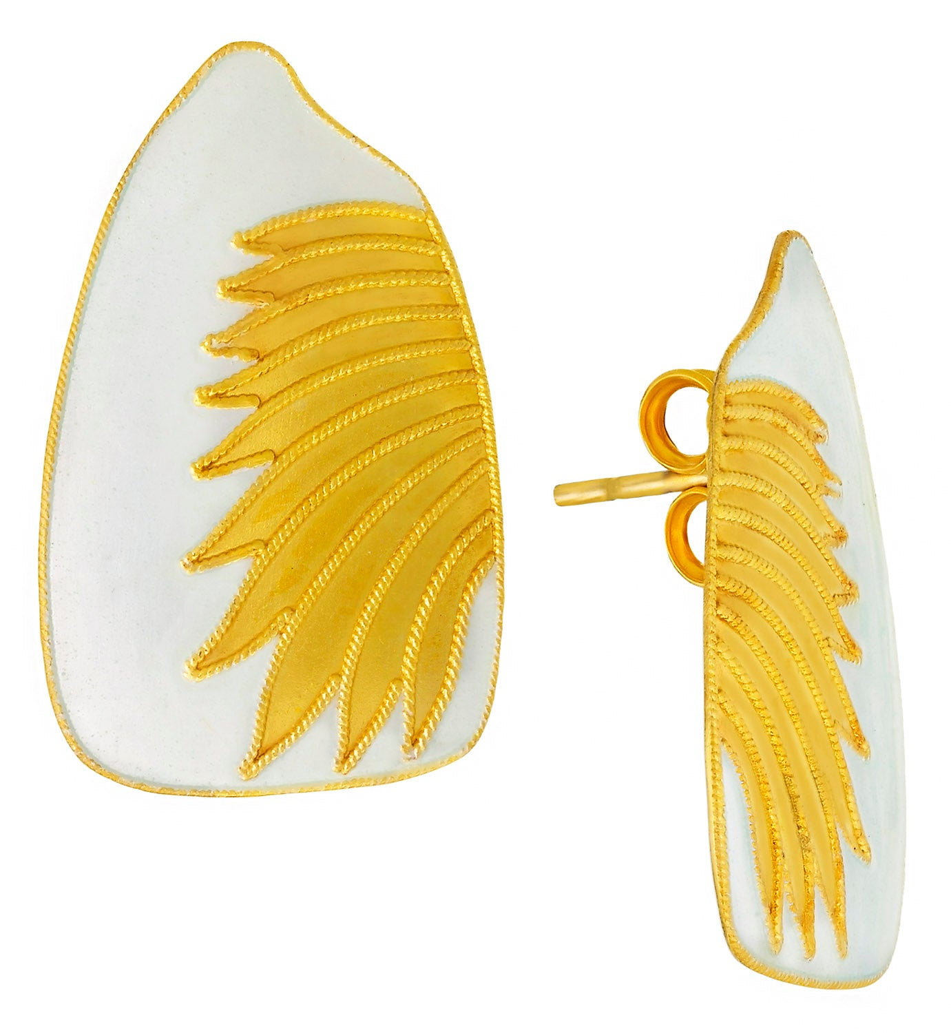 Vintage Laurel Inc Eggshell Birds Wing Gold-Vermeil Earrings